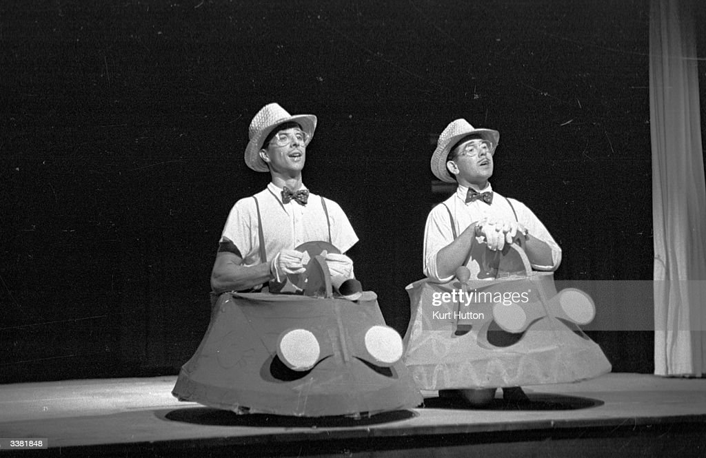 Two cabaret artistes performing in model cars at the Cornichon cabaret in Zurich Original Publication Picture Post 4651 Her Dance Of Disappointment...
