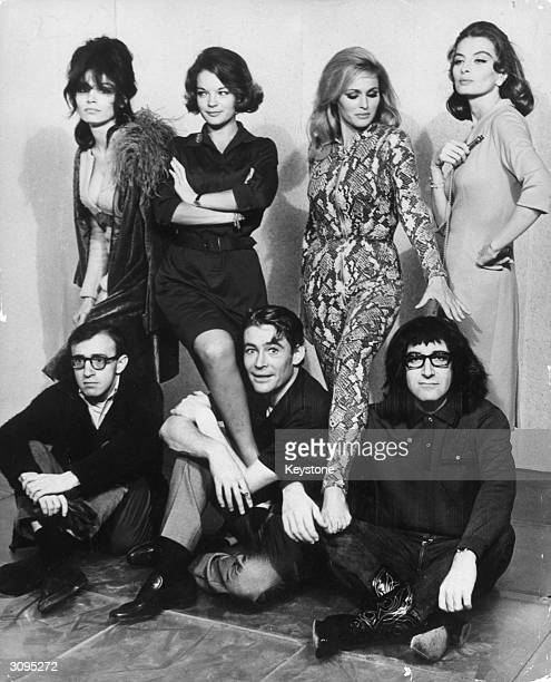 Seven stars of Woody Allen's film 'What's New Pussycat' in Paris Seated left to right Woody Allen Peter O'Toole and Peter Sellers standing behind...
