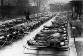 Schoolchildren sleep in the open air at Speedwell House Clapham Common south London