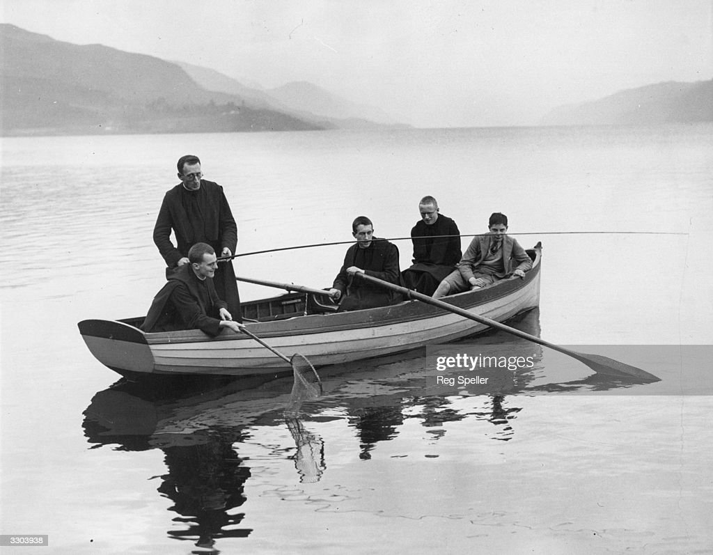 A group of monks from the Fort Augustus Abbey go angling on Loch Ness which is famed for its mythical monster References to a monster in Loch Ness...