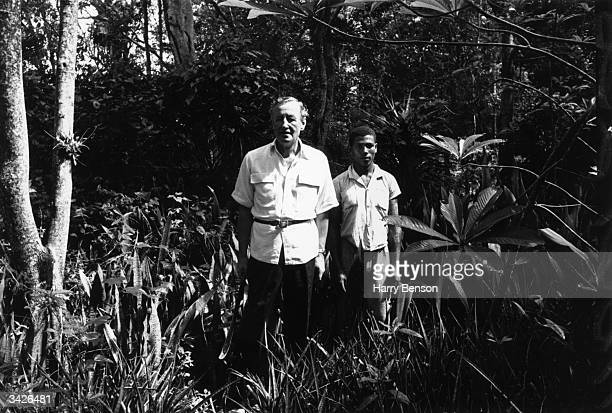 Ian Fleming author of the James Bond novels near his home Goldeneye in Jamaica