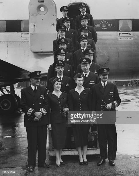 The BOAC pilots and aircrew who will fly the Queen and the Duke of Edinburgh to West Africa in an Argonaut Atalanta The crew on the left led by...
