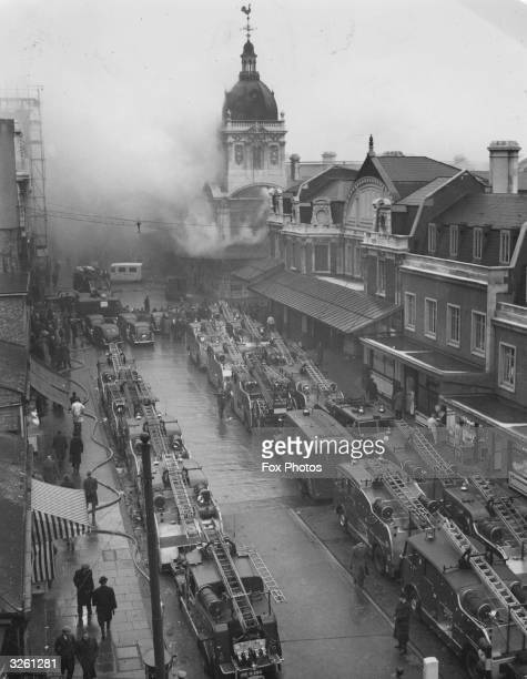 The London Fire Brigade fighting a blaze in the catacombs beneath Smithfield Market