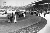 Officials at the side of the track after the 400 Metres final which ended in controversy after John Carpenter of the USA prevented Wyndham Halswelle...