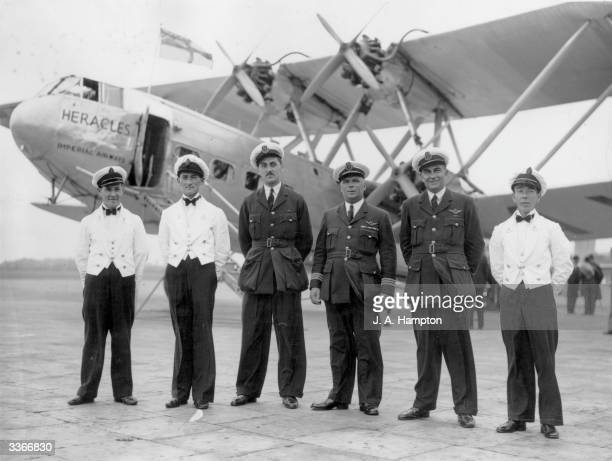 The crew of Imperial Airways liner Heracles at Croydon Aerodrome before the flight during which the airliner will complete a million miles in service...