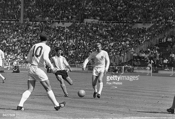 England's captain Bobby Moore in action during the World Cup quarterfinal match between England and Argentina at Wembley