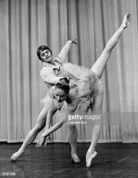 Mikhail Baryshnikov and Alla Sizova rehearsing for a performance of 'Coppelia' at the Royal Festival Hall with the Leningrad State Kirov Ballet
