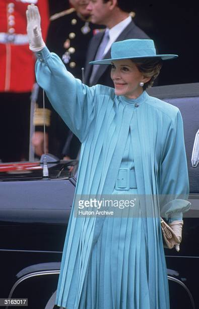 Nancy Reagan the wife of US president Ronald Reagan arrives at Westminster Abbey in London to attend the wedding of the Duke of Duchess of York