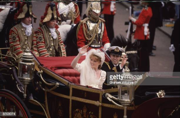 Prince Andrew Duke of York and Sarah Ferguson waving to the crowd on their wedding day