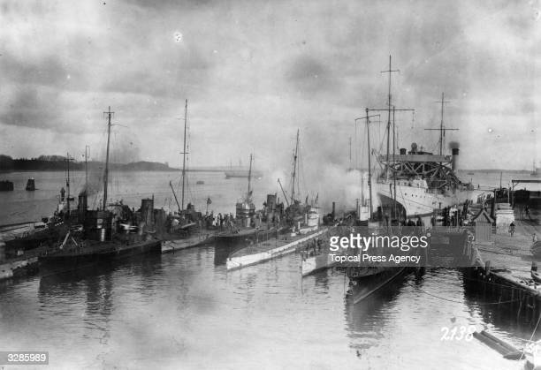 German torpedo craft and submarines with their supply ship