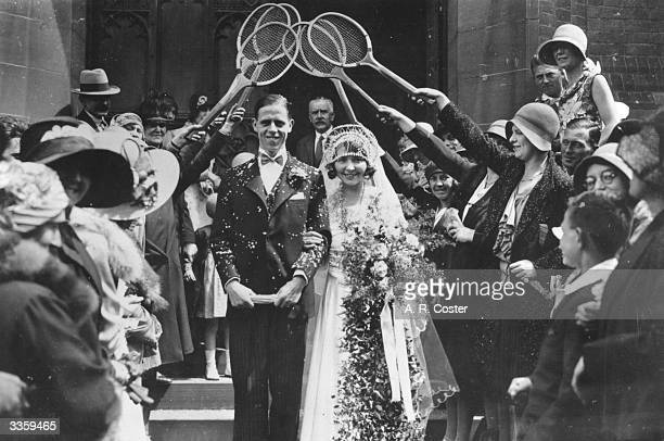 Club tennis player Alice Elliott and Harold Kail brother of Dulwich and International footballer Edgar Kail at their wedding The happy couple walk...