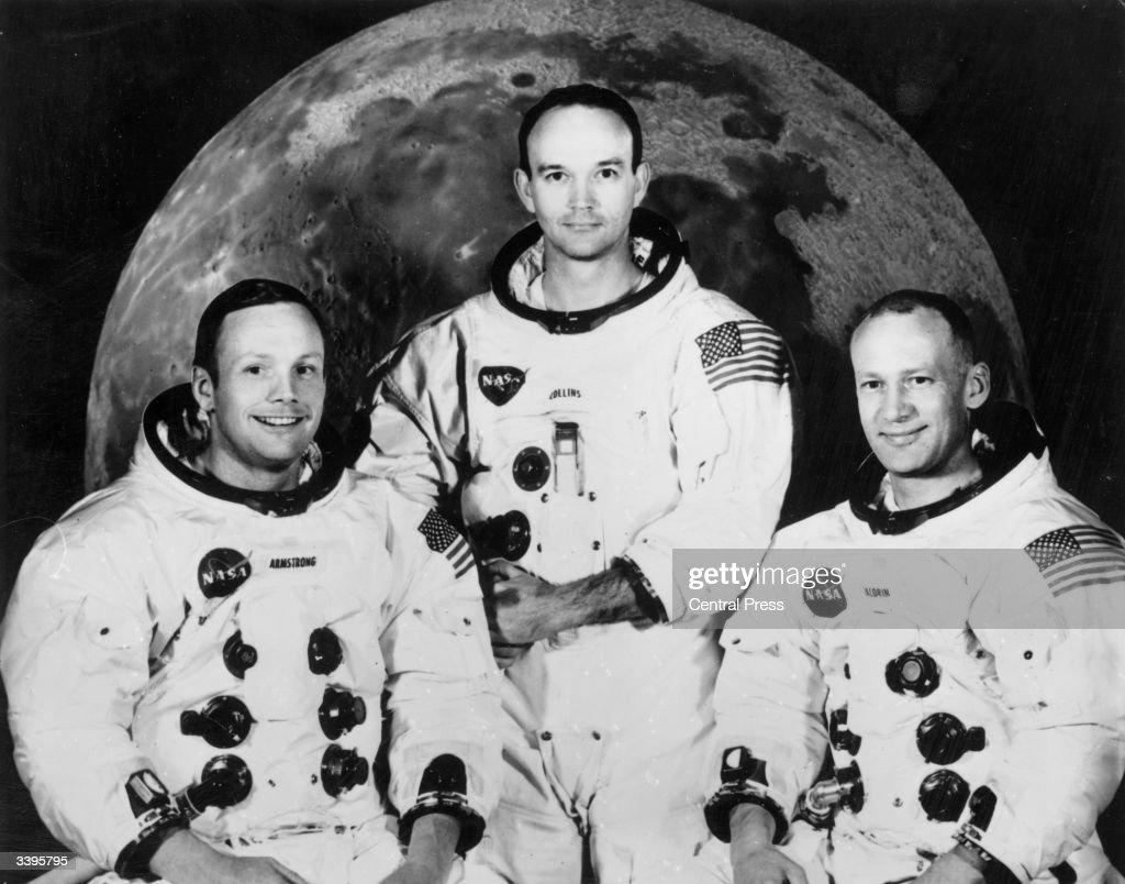 Crew of the Apollo 11 lunar landing mission Commander Neil Armstrong command module pilot Michael Collins and lunar module pilot Edwin Aldrin Jnr...