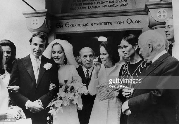 20 year old Josephine Chaplin with her husband Greek businessman Nikolas Sistovaris after their marriage at the Greek Orthodox church in Lausanne...