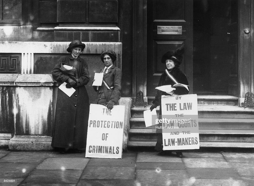 A group of Suffragettes picketing the offices of the Director of Public Prosecutions in Parliament Street, London.