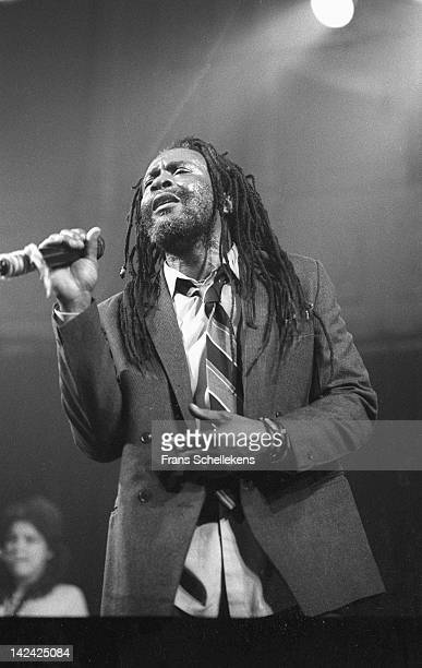 Jamaican reggae singer Burning Spear performs live on stage at the Paradiso in Amsterdam Netherlands on 23rd March 1987