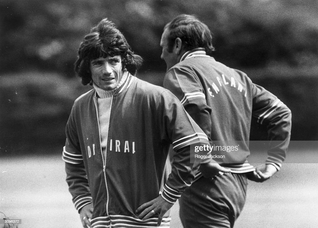 England footballer Kevin Keegan and the team manager, Don Revie, during a training session before a game against Scotland.