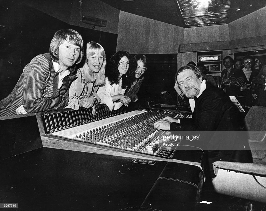 Swedish pop group Abba and their manager Stikkan Andersson at the group's newly completed, custom-built recording studio in Stockholm.