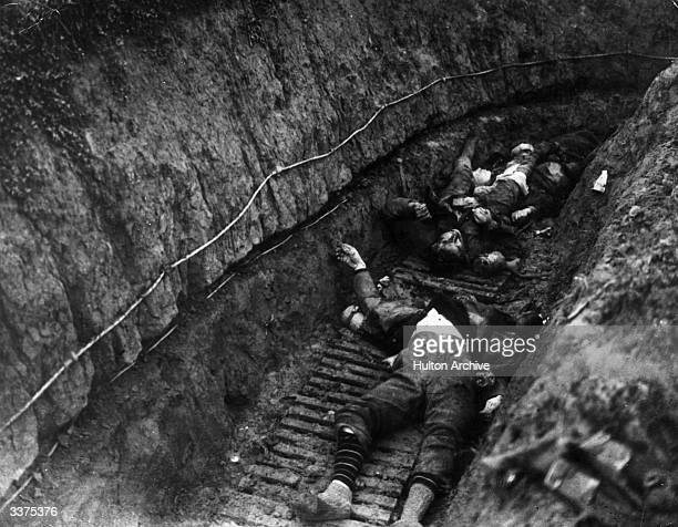 Battle of Cambrai Flesquieres France German Soldiers lying dead in a trench