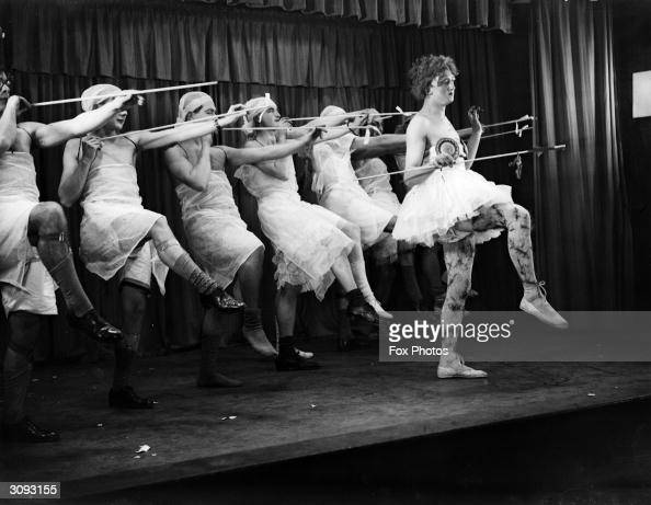 Members of the newlyreopened Cambridge Footlights the famous university dramatic society at a dress rehearsal for the pantomime 'Cinderella' The...