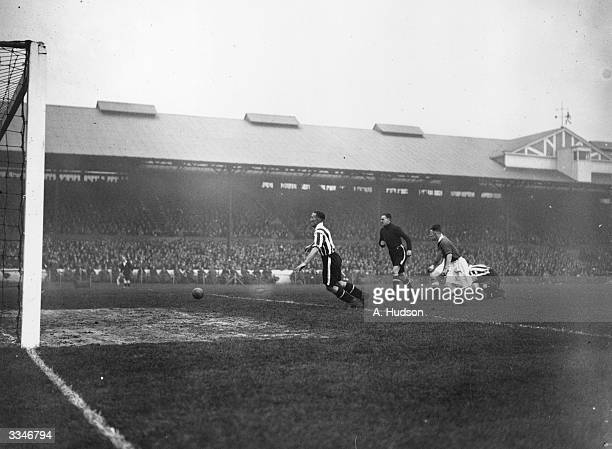 An incident in the penalty area during a match between Chelsea and Brentford at Stamford Bridge London