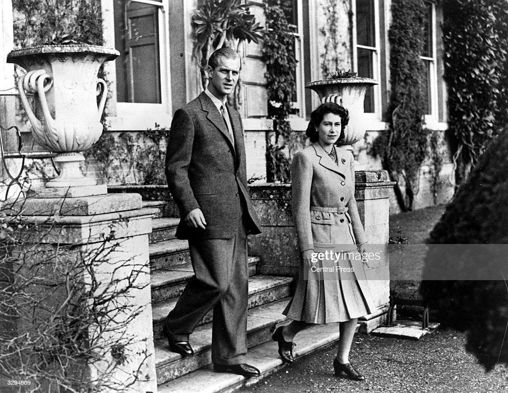 Princess Elizabeth and Prince Philip, Duke of Edinburgh on their honeymoon at Broadlands, Romsey, Hampshire.