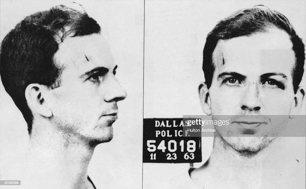 Mugshot of Lee Harvey Oswald (1939 - 1963), alleged assassin of President John F. Kennedy, taken by the Dallas Police department, Dallas, Texas.