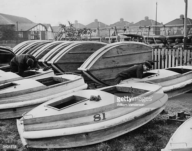 Boats at the Peter Pan Pool Southend Catford being overhauled and painted in preparation for the summer season