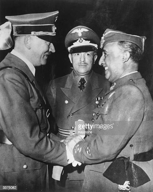 Francisco Franco Spanish general and dictator who governed Spain from 1939 to 1975 greeting Adolf Hitler Nazi German dictator The two men met only...