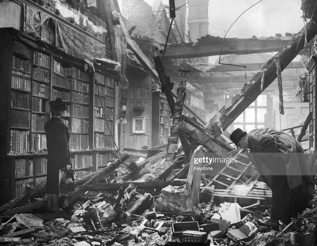 The library at Holland House in Kensington, London after being extensively damaged by a firebomb.