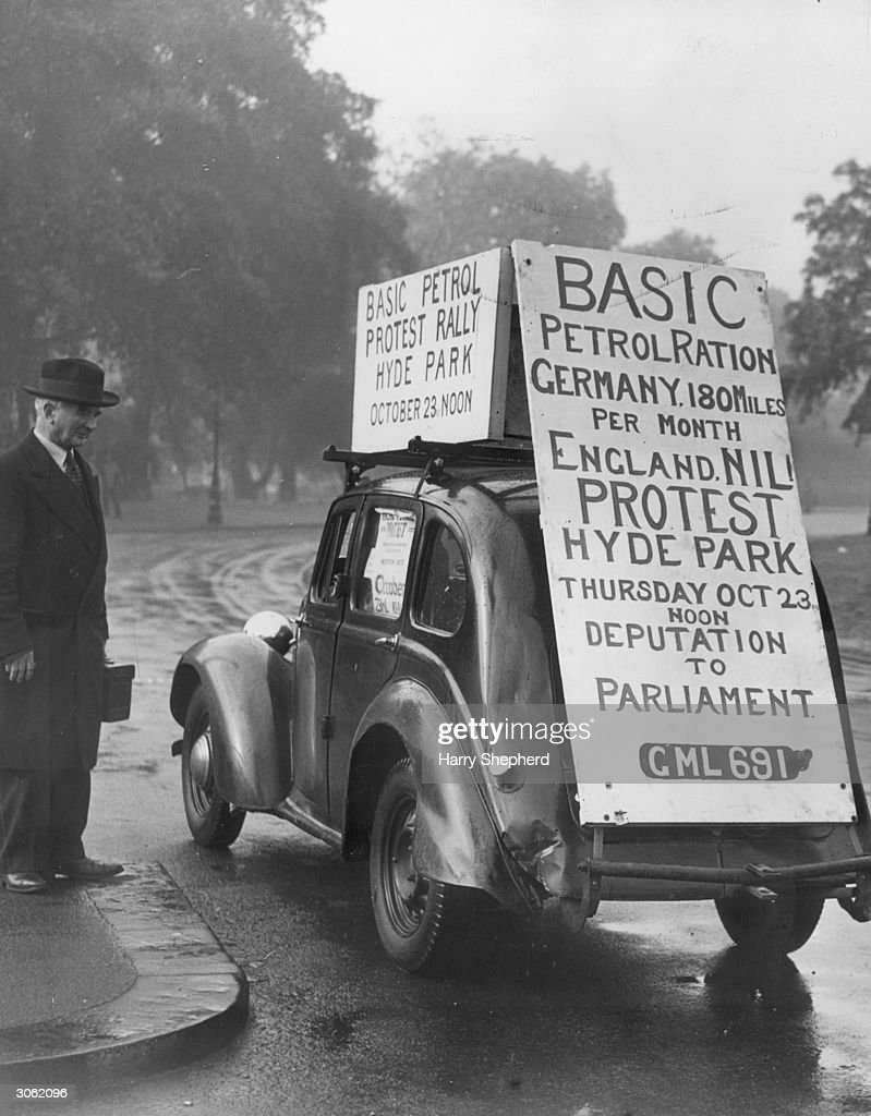 A car attending a rally in Hyde Park against petrol rationing in Britain.