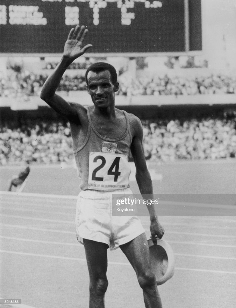 Mamo Wolde of Ethiopia, having just won the marathon in 2 hours 20 minutes 26.4 seconds at the Mexico Olympics.