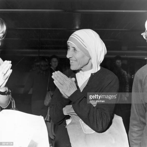 Christian missionary Mother Teresa of Calcutta arriving at Heathrow Airport London