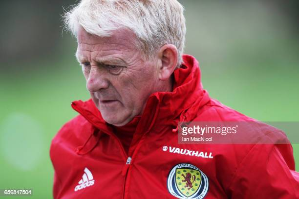 ERSKINE SCOTLAND MARCH 23Scotland manager Gordon Strachan is seen during a training session at Mar Hall on March 23 2017 in Erskine Scotland