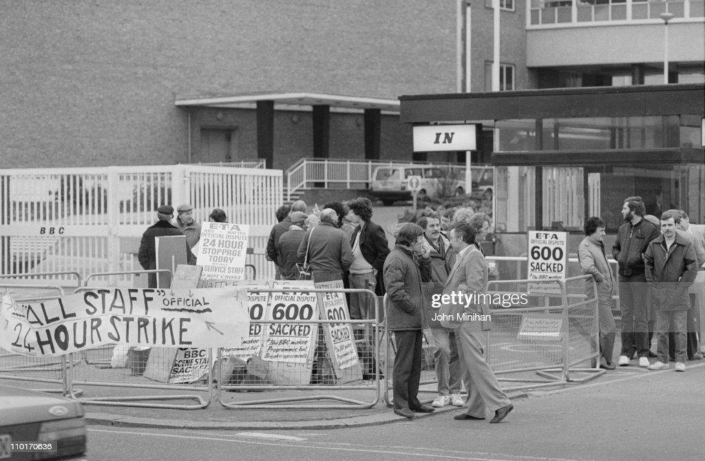 A 24-hour strike at the BBC Television Centre in London, 5th April 1984.