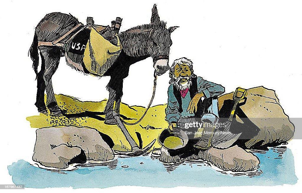 24p x 15p Jim Hummel color illustration of prospector panning for gold.