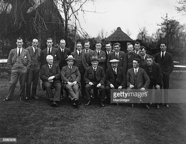 The players and directors of Newcastle United in the grounds of the King's Head Hotel Harrow where they are staying for their appearance in the FA...