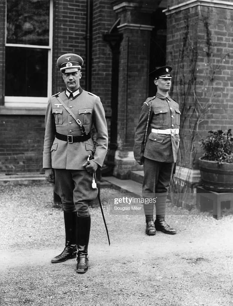German officer, Lt Von Wick at Aldershot. He is attached to the 2nd battalion Grenadier Guards and is one of several soldiers reviving a pre-1914 custom whereby there was an exchange of officers between the British and German armies. He is the first of three officers to be exchanged and will be in England for six weeks.