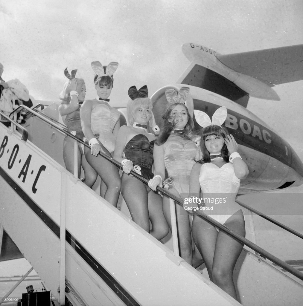 A group of British Playboy Bunny girls arriving at London Airport on a BOAC plane