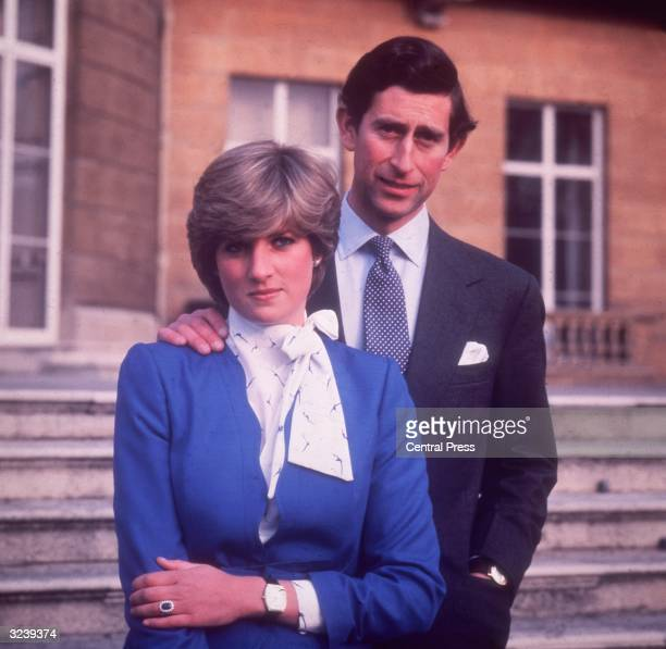 Charles Prince of Wales and Diana Princess of Wales at Buckingham Palace in London on the occasion of their engagement