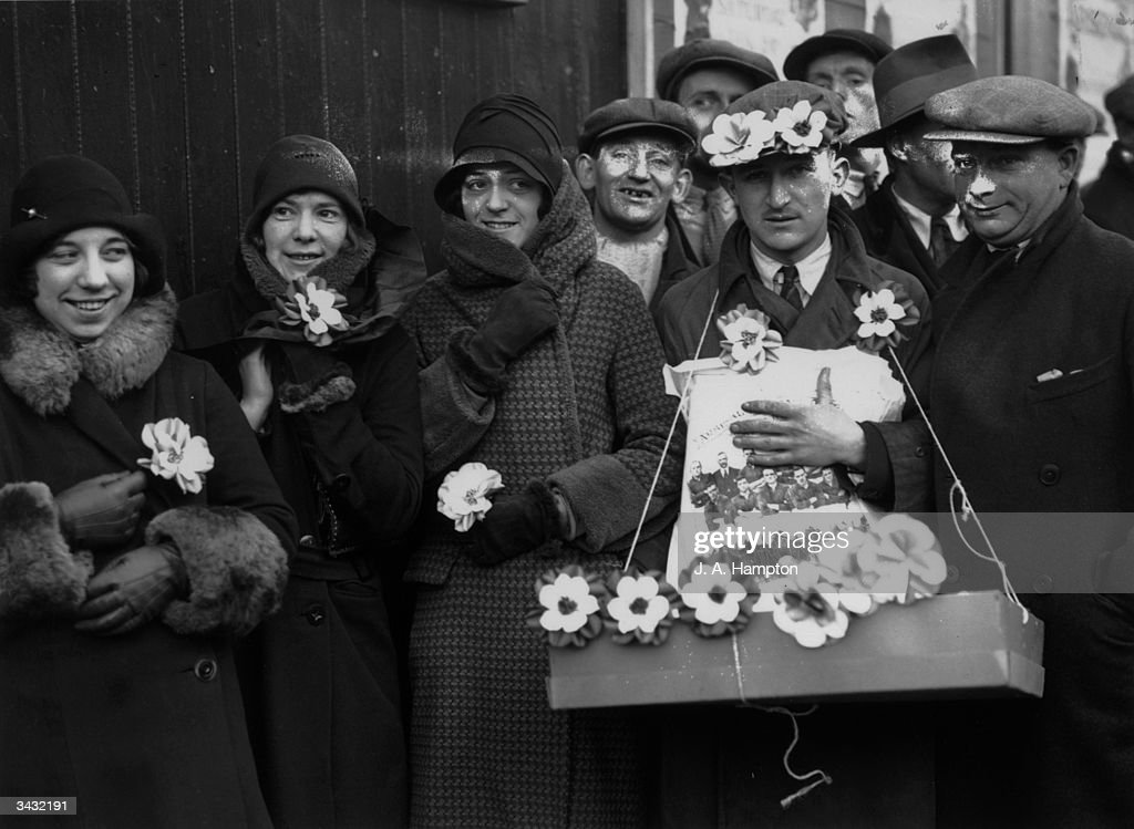 A group of football supporters at Stamford Bridge football ground before the cuptie between Chelsea and Arsenal