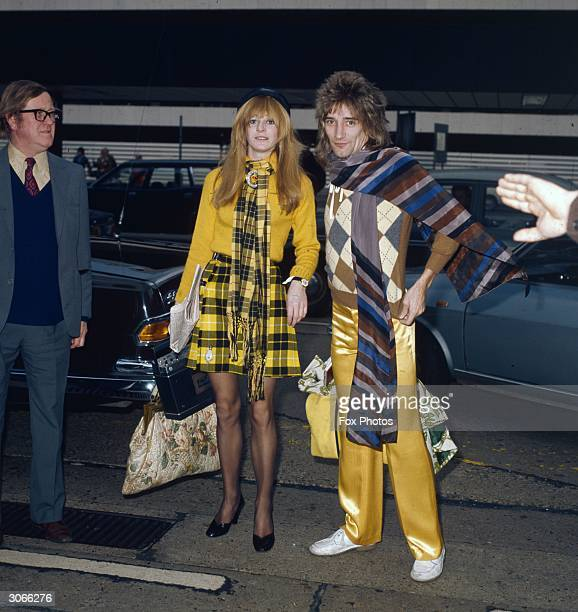 British rock singer Rod Stewart at London Airport with model Dee Harrington Stewart has performed with the Jeff Beck Group and the Faces before...