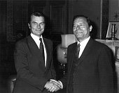 Prime Minister of Belize Mr George Price shaking hands with the British Foreign Secretary Dr David Owen as they have talks on the future of the colony