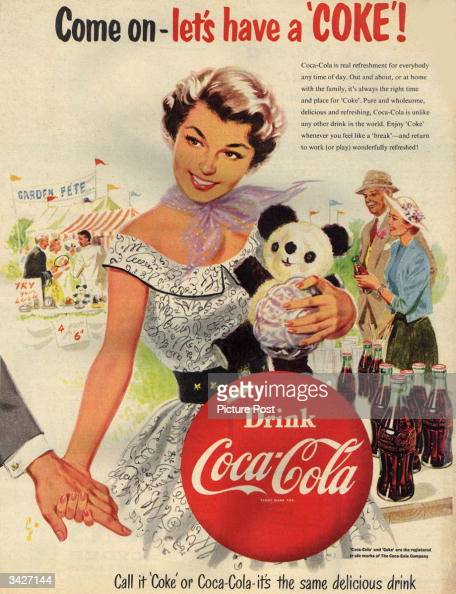A woman encourages her date to 'Drink CocaCola' at a garden fete Original Publication Picture Post Ad Vol 64 No 4 P 52 pub 1954