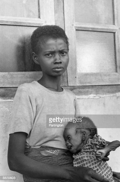 A Biafran mother and her starving baby during the famine resulting from the Biafran War in the Republic of Biafra
