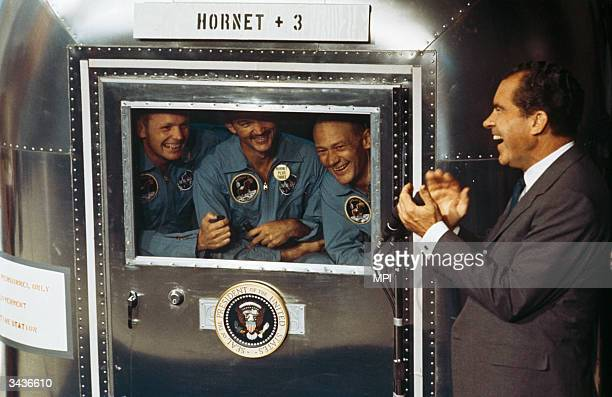From left to right Neil Armstrong Michael Collins and Edwin 'Buzz' Aldrin Jnr the crew of the historic Apollo 11 moon landing mission are subjected...