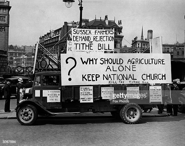 A van bearing protest messages against tithes has been stopped by police on the Embankment near Blackfriars and not allowed to proceed through the...