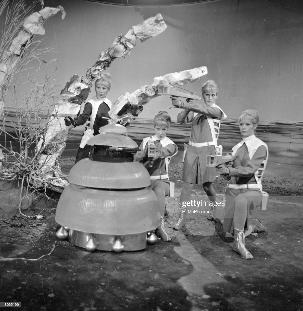 Actresses Stephanie Bidmead, Marina Martin, Susanna Carroll and Lyn Ashley as the Drahvins in an episode of Dr Who.