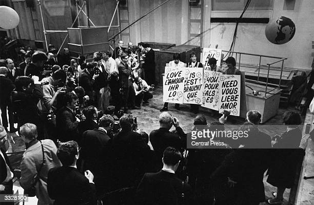 The Beatles at a rehearsal for their global TV performance with an expected audience of 700 million 'All You Need is Love' was one of the songs...