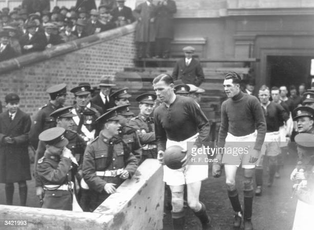 Charlie Buchan leading Arsenal FC team out for the FA Cup semifinal against Blackburn Rovers FC at Leicester Blackburn Rovers FC won 10