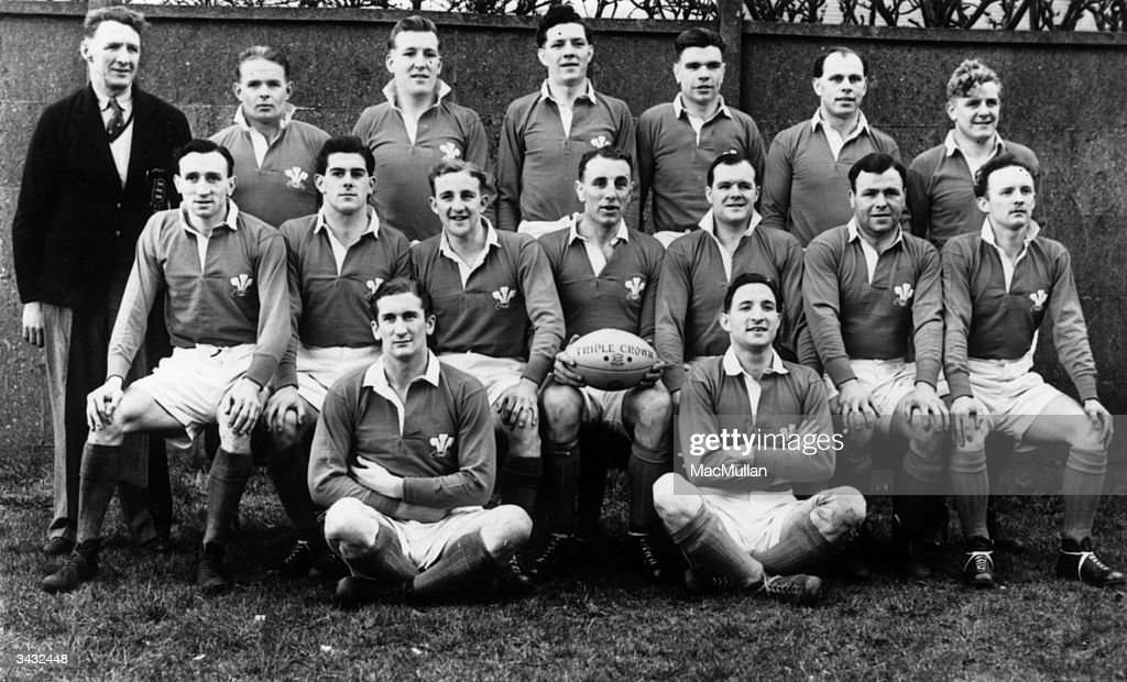 The Welsh rugby team who are to face France in their next match at the Cardiff Arms Park (back row, left to right) I Jones, G D Robbins, Don Hayward, Roy John, R T Evans, Ray Gale, W B Cleaver, (front row) Ken Jones, Malcolm Thomas, Lewis Jones, John Gwilliam, Jack Matthews, Cliff Davies, Gerwyn Williams, (on ground) Rex Willis and D M Davies.